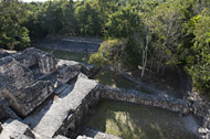 Temple X in Becan's Central Plaza - becan mayan ruins,becan mayan temple,mayan temple pictures,mayan ruins photos