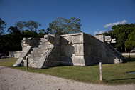 Platform of the Eagles and Jaguars Southeast Side at Chichen Itza - chichen itza mayan ruins,chichen itza mayan temple,mayan temple pictures,mayan ruins photos