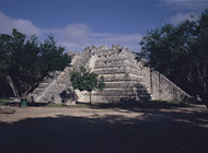 Pyramid of the High Priest South Side at Chichen Itza - chichen itza mayan ruins,chichen itza mayan temple,mayan temple pictures,mayan ruins photos
