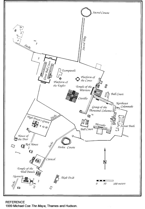 Map of the Mayan Temple Chichen Itza on the Yucatan Peninsula in Mexico.