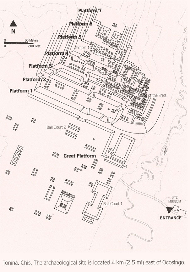 Map of the Mayan Temple Tonina on the Yucatan Peninsula in Mexico.