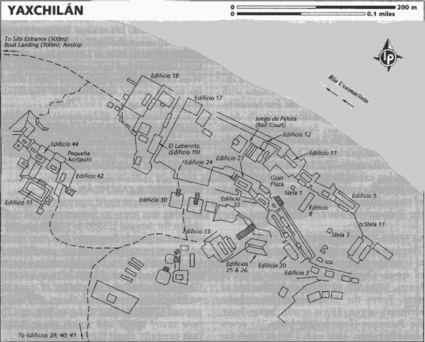 Map of the Mayan Temple Yaxchilan on the Yucatan Peninsula in Mexico.