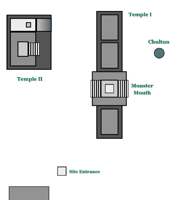 Map of the Mayan Temple El Tabasqueno on the Yucatan Peninsula in Mexico.