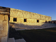 Mayan Nunnery Quadrangle East Side at Uxmal Ruins - uxmal mayan ruins,uxmal mayan temple,mayan temple pictures,mayan ruins photos