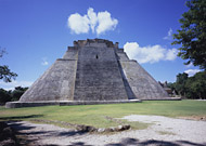 Pyramid of the Magician East Side at Uxmal Ruins - uxmal mayan ruins,uxmal mayan temple,mayan temple pictures,mayan ruins photos