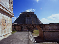 Pyramid of the Magician West Side at Uxmal Ruins - uxmal mayan ruins,uxmal mayan temple,mayan temple pictures,mayan ruins photos